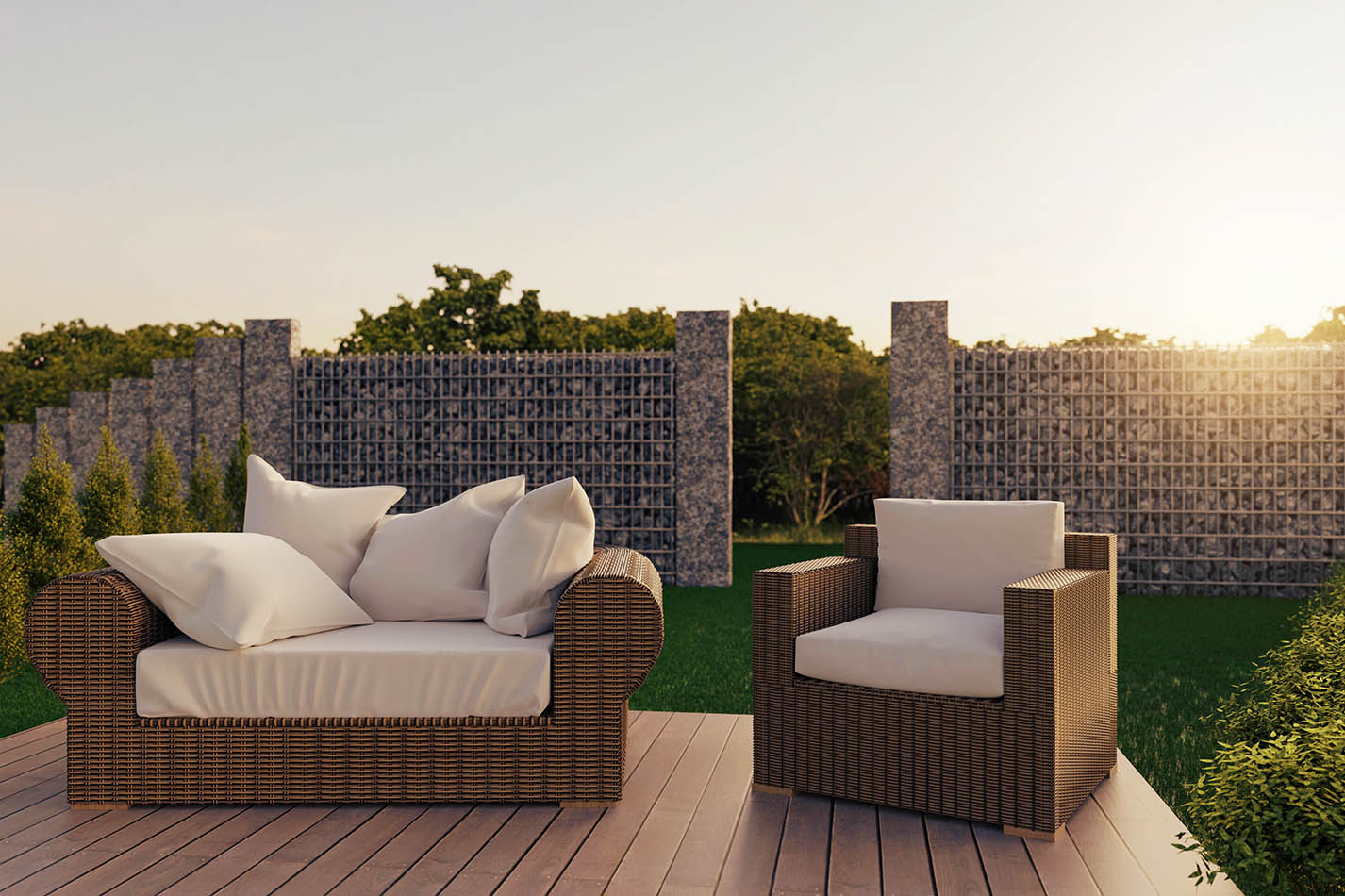 3d rendering of rattan garden furniture on wooden patio at garde