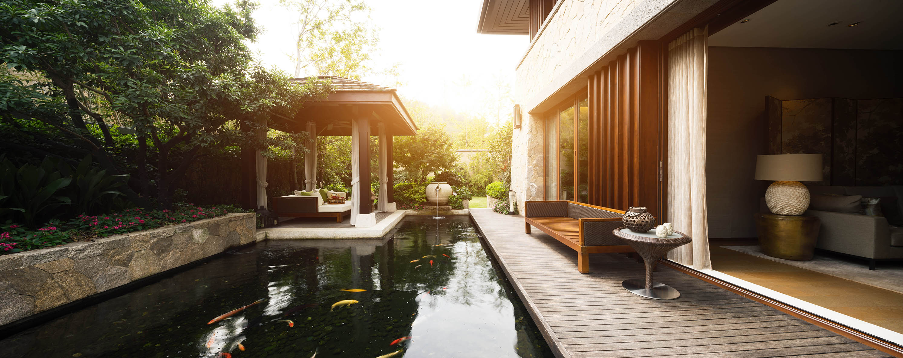 design and furniture in rest place with pond